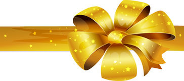 Golden glittering Christmas bows - vector Stock Image