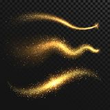 Golden glittering dust tails. Shimmering gold waves with sparkles vector set. Glow wave light, glitter sparkle golden tail illustration Stock Images