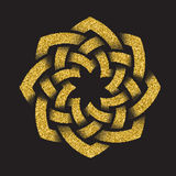 Golden glittering logo template in Celtic knots style Stock Photo