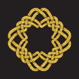 Golden glittering logo template in Celtic knots style Royalty Free Stock Photos