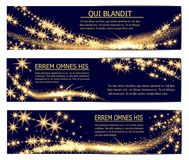 Golden glittering magic sparkle stardust banners template. stock illustration
