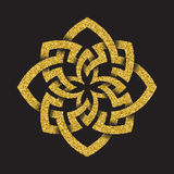 Golden glittering Octagonal symbol Royalty Free Stock Photo