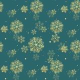 Golden glittering snowflakes seamless pattern on green background. EPS 10 stock illustration