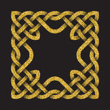 Golden glittering square frame Royalty Free Stock Photo
