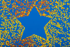 Golden glittering star shaped Christmas ornament isolated Royalty Free Stock Photos