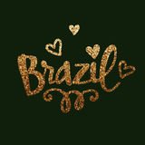 Golden Glittering Text Brazil with Hearts. Stock Photos