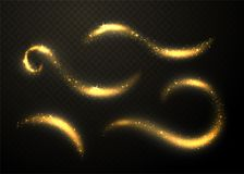 Golden glittering waves set. Sparkle dust with gold particles. Isolated on black transparent background. Glitter glow tail. Vector illustration stock illustration