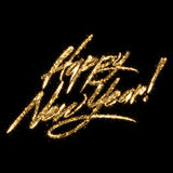 Golden Glittering Writing Happy New Year. On black background Stock Images