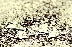Golden glitters and confettis Stock Image