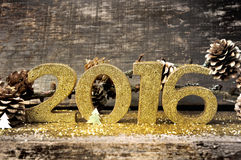 Golden 2016 in glitters Stock Photography