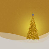 Golden glittery Christmas card design or background. Square seasonal, festive design in warm but neutral shades. With space for your greeting Stock Photography
