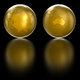 Golden Globe. Isolated on black Royalty Free Stock Photography