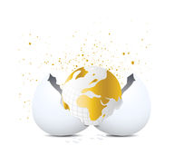 Golden globe. Out off egg shell Royalty Free Stock Photo