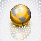 Golden globe. Reflecting over dots royalty free illustration