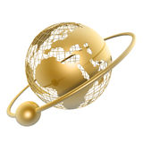 Golden globe. And moon around it on white background Stock Photography