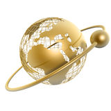Golden globe. And moon around it on white background Stock Photos
