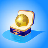 golden globe in case Stock Photo