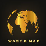 Golden Globe Earth. Vector illustration. Golden Globe on dark background. Vector illustration. Glossy world map Stock Photography