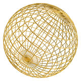 Golden globe frame ball. 3d golden globe frame ball isolated on white background Royalty Free Stock Photos