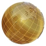 Golden globe with glass continents. 3d illustration on white background. Abstract sphere as Earth Royalty Free Stock Photography