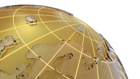 Golden globe with glass continents. 3d illustration on white background. Abstract sphere as Earth Stock Photos