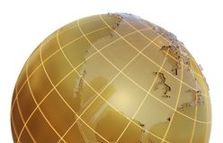 Golden globe with glass continents Stock Image