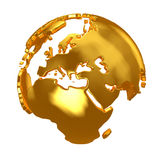 Golden Globe. Golden continents Royalty Free Stock Photos