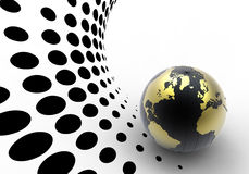 Golden globe on halftone background Stock Images