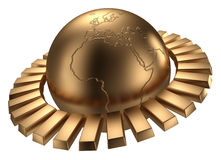 Golden globe. Include clipping path. Golden earth with gold bars. Isolated on white. Include clipping path Stock Image