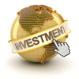 Golden globe with investment text Royalty Free Stock Photo