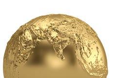 Golden globe isolated on white background 3D illustration.  royalty free illustration
