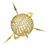 Golden globe logo. Illustration of a golden wireframe globe, with 3d axis sticking out of it. Isolated on white background Stock Photos
