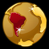 Golden globe with marked of South America Stock Photo