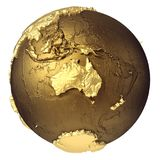 Gold Globe Australia. Golden globe model without water. Australia. 3d rendering isolated on white background. Elements of this image furnished by NASA Royalty Free Stock Photo