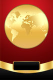 Golden Globe on Red Background Stock Photo