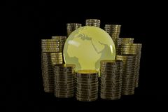 Golden globe with stack of gold coins.3D illustration. Golden globe with stack of gold coins. 3D illustration Stock Photo