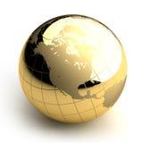 Golden Globe su priorità bassa bianca Immagine Stock