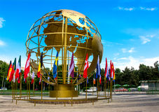 Golden Globe. Surrounded by country flags  in Titan Park, Bucharest, Romania Stock Photos