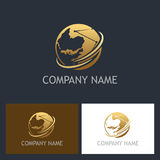 Golden globe technology company logo Stock Photography