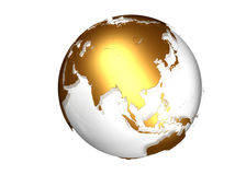 Golden globe with view on Asia. Against a white background stock illustration