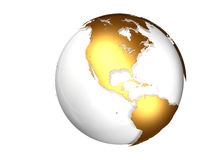 Golden globe with view North and South America. Against a white background stock illustration