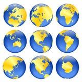 Golden globe views. Rasterized pseudo 3d  golden globe views Stock Photo