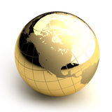 Golden Globe on white background. Metal globe of the Earth with a golden hue as it were photographed in the studio. 3D-graphics royalty free illustration