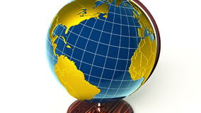 Golden globe, zoom to USA. Golden globe rotating, zooming to North America stock footage