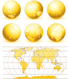 Golden globes. Collection of golden globes with world map stock illustration
