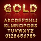 Golden glossy alphabet. Letters and numbers. Vector illustration Stock Images