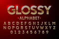 Golden Glossy font. Alphabet vector illustration stock illustration