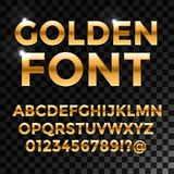 Golden glossy  font or gold alphabet. Yellow metal  Stock Photography