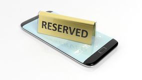 Golden glossy reservation sign on smartphone screen Royalty Free Stock Photo