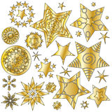 Golden glossy star collection. Over white background Stock Photo